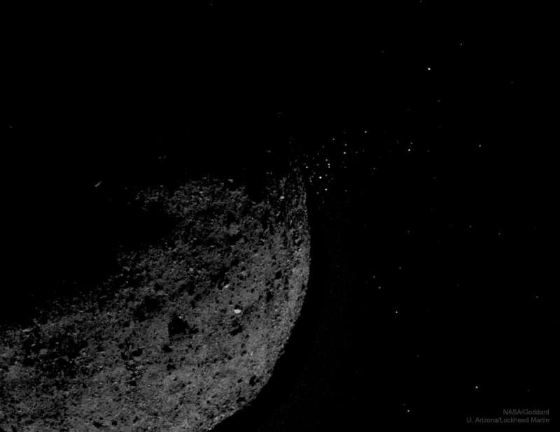 Gravel Ejected from Asteroid Bennu