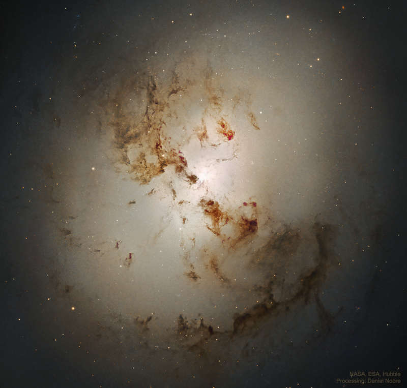 Central NGC 1316: After Galaxies Collide